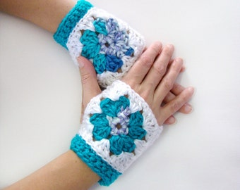 Granny Square Mitts, Fingerless Mittens, Wrist Warmers, Crochet Mittens, Fingerless Gloves, Granny Square Gloves, Granny Square Mittens