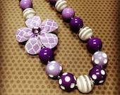 Purple Quatrefoil Print Chunky Bead Necklace...Necklaces...Childrens Jewelry...Chunky Beads...Jewelry...Girls Necklaces