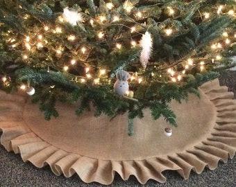 "54"" Natural Burlap Christmas Tree Skirt With Natural Burlap Ruffle- Rustic/ Folk/ Country/ Shabby Chic/Farmhouse-Minimalist-Rustic Chic"