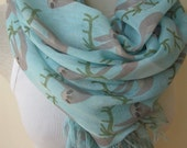 Animal scarves /Sloth scarf, sloth print fabric accessories-trending scarf gifts 2016 teens fashion scarf,blue mint green-Scarves2012 Turkey