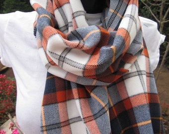 Denver Broncos scarf-fast shipping-Flannel shirt fabric scarf-ORANGE navy blue white tartan plaid scarf -fanatics scarf-Go broncos colored