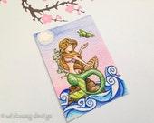 "Mermaid painting, fantasy ACEO print, miniature painting, trading card, art card, mermaid aceo, ""Mermaid Magic"" 2.5 x 3.5 inches"
