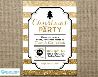 Gold Glitter Christmas Party Invitation - Christmas Invitation - Christmas Tree Invitation - Holiday Party Invitation - Printable - invite