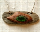 Totaly Natural Pendand  Driftwood Rosewood Green Sea Beach Glass on Pure Linen Rope One of a Kind Romantic Eco Jewelry