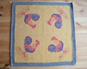 Rooster. Vintage Swedish napkin / small table cloth / Doily / Table topping. Jacquard Weave. Made by Ekelund. Holliday Table Linens.