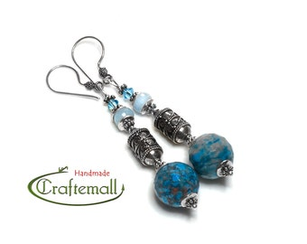 Clearance: Sterling silver earrings with semiprecious stones and Swarovski crystal - Larimar and Aquamarine