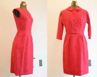 Early 60's Red Dress / Cocktail Dress / Small