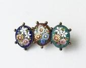 19th Century Antique Micro Mosaic Brooch, Italian Venetian Tesserae, Tiny Glass Tiles, Antique Jewelry