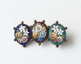 19th Century Antique Micro Mosaic Brooch, Italian Venetian Tesserae, Tiny Glass Tiles, Antique Jewelry