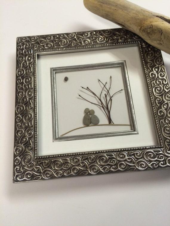 Stone Art Wedding Gift : Framed beach stone couple Stone Art Wedding by NATURALware
