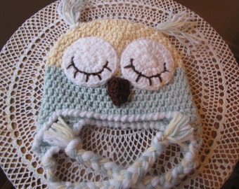 Sleepy Baby Owl Hat, Baby Hat, Hand Crocheted, Aqua, Light Yellow, White