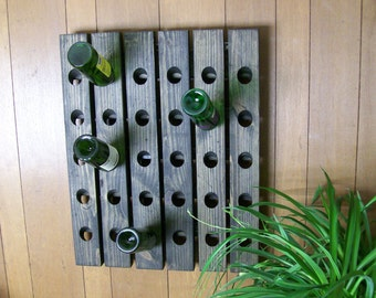 Distressed Wine Riddling Rack Wood Wall Hanging Winerack Ebony
