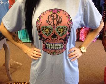 SHORT SLEEVE Monogrammed Sugar Skull T-Shirt womens printed
