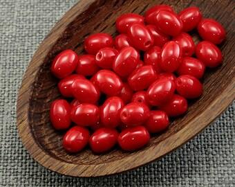 Oval Beads, Red Czech Rice 8mm (30pc) Opaque Glass