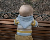 baby boy sweater-hooded- hand knit sweater- beach colors - knit for kids