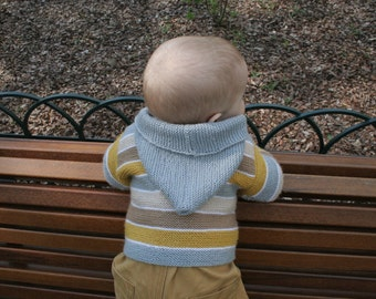 Baby boy sweater - hooded - hand knit sweater - beach colors - knit for kids
