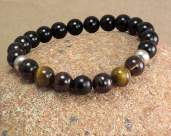 Root Chakra Stretch Bracelet - Reiki Jewelry Deflect Negative Energy -  Jet Garnet Tiger Eye Smoky Quartz