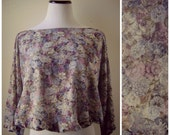 Sheer Floral Blouse Cropped Vintage 70s Blue Purple Flower Print Shirt Size S/M Small Medium Hippie Boho Flowy Dolman Sleeves 1970s Bohemian