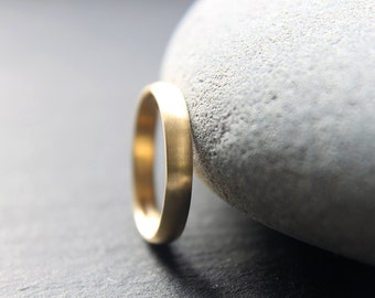 18ct Yellow Gold Wedding Ring, Womens Wedding Band, 3mm D-profile, Brushed Finish, Custom Made To Fit