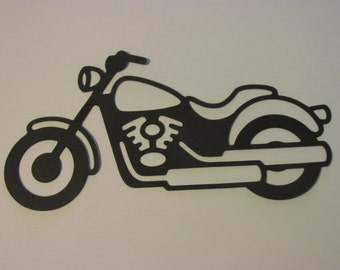 10 large paper Motorcycles,  motorcycle die cuts, harley motorcycle silhouettes, wall decoration, 7.5 x 3.5 inches