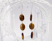 Earrings with gemstones, brown flashy tiger's eye and fuchsia crazy lace agate gemstones, sterling silver, ONE pair