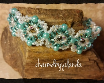 Swarovski Austrian Crystal and Pearl Woven Bracelet in Aqua Blue