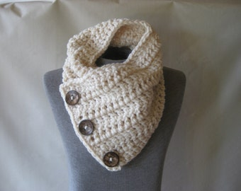 Ivory Crochet Womens or Mens  Scarf  Neckwarmer Chunky Cowl with Large Coconut Buttons