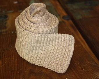 Rooster Beige Knit Square End Tie Menswear Vintage