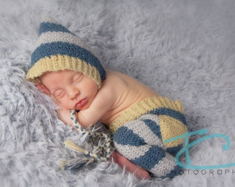 Crochet Striped Pixie Bonnet and Pants Set, Blues and lime green, Newborn size, photography prop