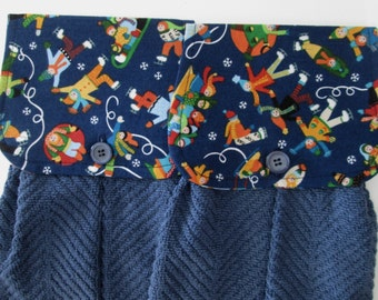 Hanging Kitchen Towel Set - Skaters Sledders  Medium Dark BlueTerry Cloth Towels Button Closure