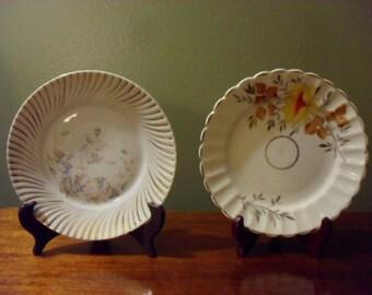 Two Vintage Flower Pattern Plates  Vintage Decorator Plates