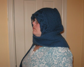 Hooded knitted scarf pattern PDF file