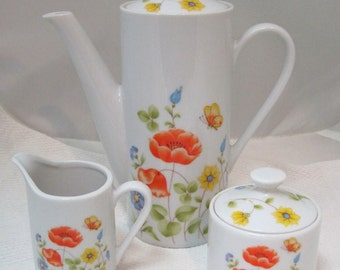 Vintage 1960-70's Sweet Floral & Butterfly Tea or Chocolate Set Pot Cream Sugar
