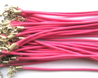 20pcs 18 inch Adjustable plum leather cord necklace cord with white K lobster clasp r012