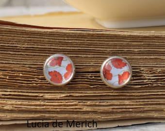 Tiny earrings - Poppy Red flowers stud earrings - red stud earrings - coupon code - gift
