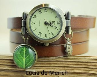 Green leaf watch, three laps wrist watch, nature watch, green leaf watch, ladies watch, girls watch, woman watch, girlfriend gift