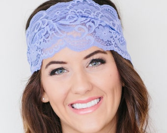 Wide Lavender Floral Stretch Lace Headband