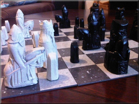 Isle of Lewis Chess Set - Classic Jet Black and Two Extra Queens with optional Vinyl Chess Board