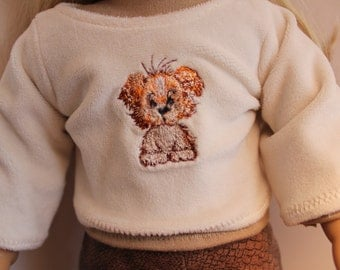 Embroidered Puppy on Fleece for American Girl
