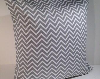 "Decorative Throw Pillow Cover 20"" x 20"" Gray and White Cosmo Chevron Zig Zag Stripe by Premier Prints"