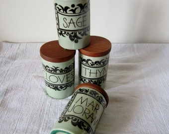 Rörstrand Spice Jars Earthenware Cork Teak Sweden Kulinar Collection Set of 4 Thyme Sage Clove Marjoram Collectible Spice Jars