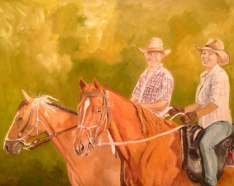 Custom horse portrait from your photo, Horse oil painting Horse painting