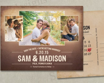 Wedding Save The Dates Photo Magnets Postcards Cards Calendar Rustic Vintage Shabby Chic Country Beach Peach Blush Navy Modern