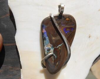 Koroit Boulder Opal Silver Wrapped Pendant