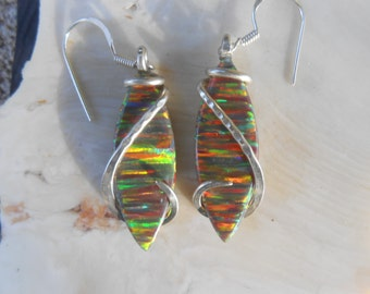 Opal Silver Wrapped Earrings