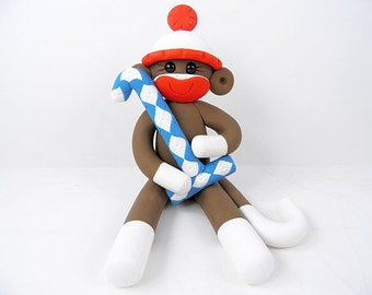 Sock Monkey Cake Topper Polymer Clay