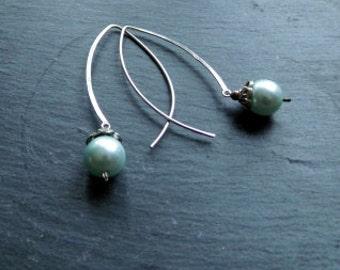 Earring, earrings, green, large eyelet, pearls, Sterling Silver