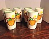 Vintage 1970's Napcoware Juice Glasses, Oranges, Breakfast, Collectible