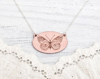 Butterfly Necklace Wooden Pink Charm Cute Pendant Romantic gift Girlfriend love gift Boho Chic necklace Statement necklace