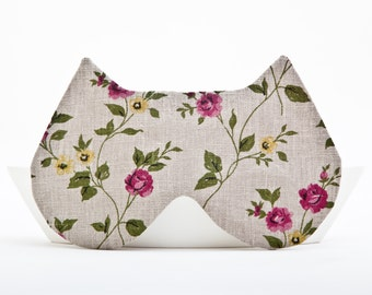Sleep Mask Cat, Floral pattern, gift for her, Cat Mask